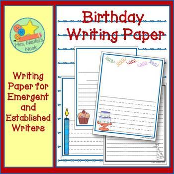 Writing Paper Templates - Birthday Theme