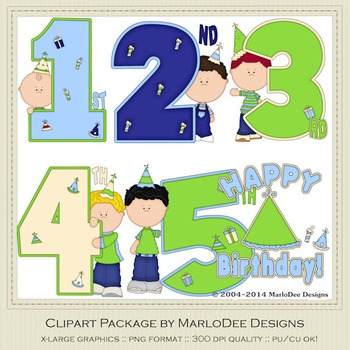 Birthday Years Boys Clip Art Graphics Set 1 by MarloDee Designs