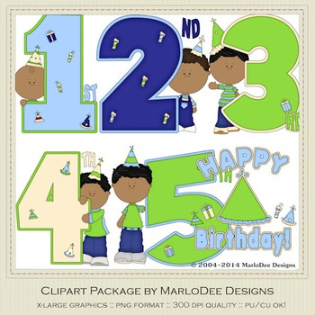 Birthday Years Boys Clip Art Graphics Set 2 by MarloDee Designs
