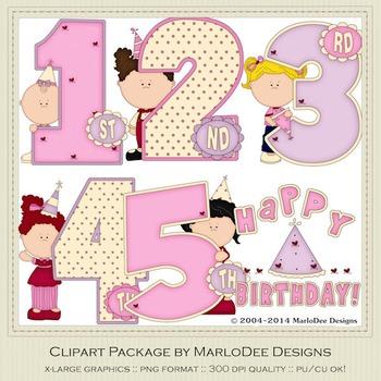 Birthday Years Girls Clip Art Graphics Set 1 by MarloDee Designs