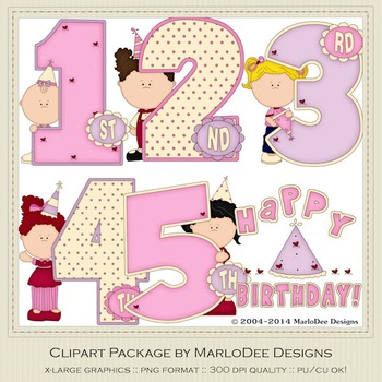 Birthday Years Girls Clip Art Graphics Set 1 by MarloDee Designs