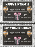 Birthday and Half Birthday Certificates