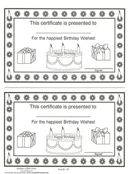 Birthday Award Certificate