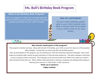 Birthday book program flier