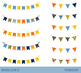 Birthday bunting clipart, Party banner flag clip art, garland pennant streamer