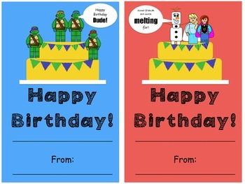 Birthday cards: (Lego like) Block theme