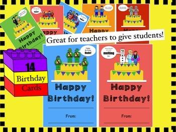 Birthday cards: Building Block theme