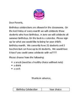 Birthday celebration calendar