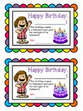Birthday certificate homework pass