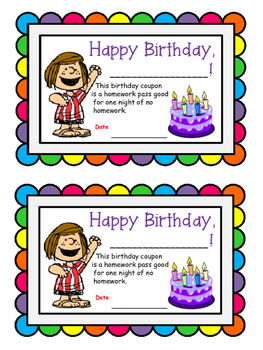 Birthday certificate homework pass