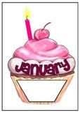 Birthday chart display cupcake theme.