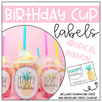 Birthday cup labels- Tropical Edition