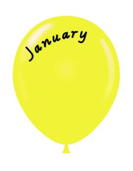 Birthday display balloons - Victorian cursive font