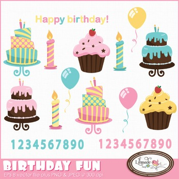 Birthday fun clip art, birthday cakes, baking clip art, celebration clip art