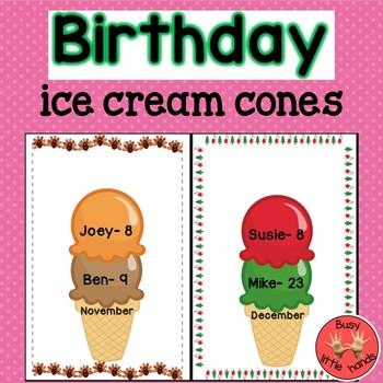 Birthday ice cream cones