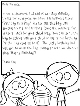 Birthday in a Bag Labels & Letter (FREE!)