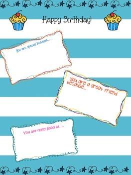 Birthday letter class activity