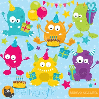 Birthday monsters clipart commercial use, vector, digital - CL760