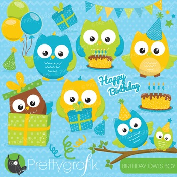 Birthday owl clipart commercial use, vector graphics, digital - CL650