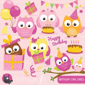 Birthday owl clipart commercial use, vector graphics, digital - CL651