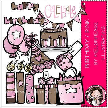 Melonheadz: Birthday clip art - Pink - COMBO PACK