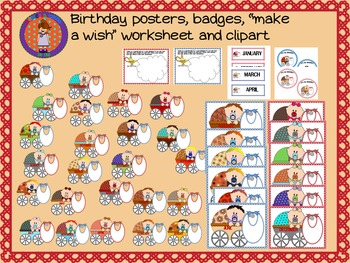 Birthday posters,badges and clipart