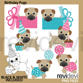 Birthday pugs clip art