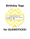 Birthday tags to attach to glow sticks