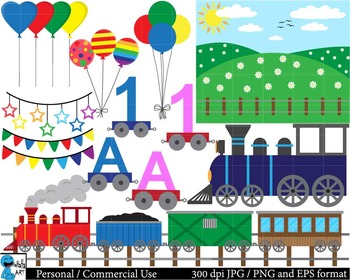 Birthday train Digital Clip Art Graphics 114 images cod42