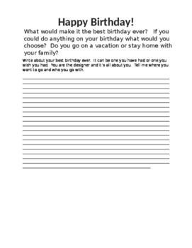 Birthday writing