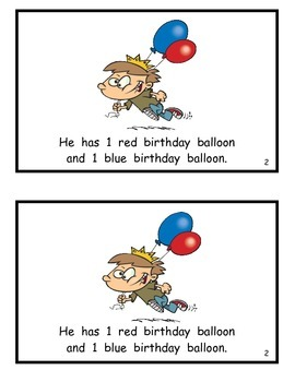 Birthdays and Balloons: Guided Reader for number/color recognition and counting