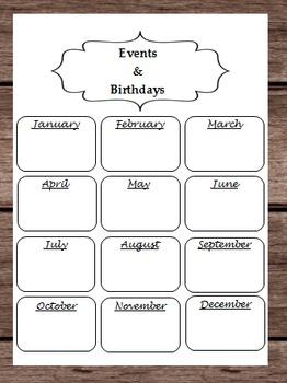 Birthdays Events Holidays Month Calendar Halloween Thanksgiving Christmas Easter