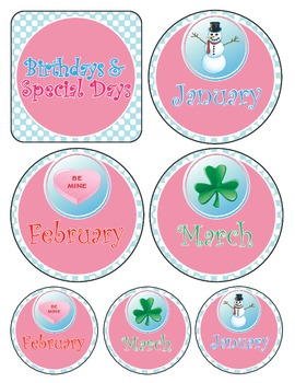 Birthdays and Special Events Tags/Wall Hanging (Months of