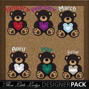 Birthstone Bear Boys with Months