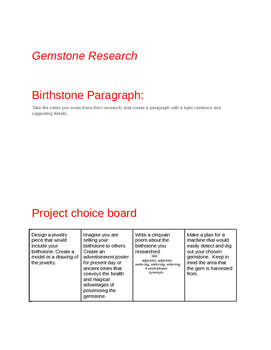 Birthstone Research and project choice board