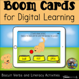 Biscuit Verbs and Literacy Activity Boom Cards for Distanc