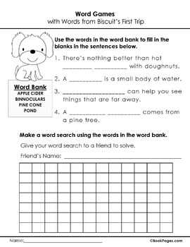 Biscuit's First Trip Lesson Plans & Activities Package, First Grade  (CCSS)