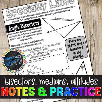 Bisectors, Medians & Altitudes Doodle Notes & Practice Worksheet; Geometry