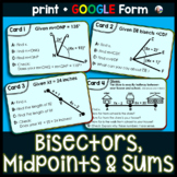 Bisectors, Midpoints and Whole Angles Task Cards