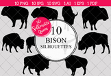 Bison Silhouettes Clipart Clip Art(AI, EPS, SVGs, JPGs, PNGs, PDF)