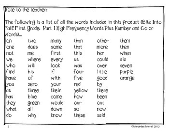 FREEBIE!  Bite Into Fall! First Grade: High Frequency Words... Cut/Paste...
