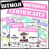 Bitmoji Birthday Certificates (Editable)