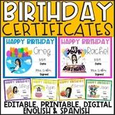 Birthday Certificates (Print & Digital) DISTANCE LEARNING