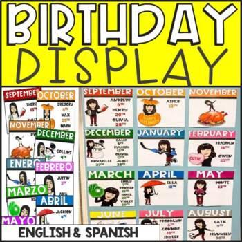 Bitmoji Birthday Chart (EDITABLE) English and Spanish Versions