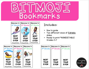Bitmoji Bookmarks *Editable