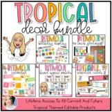 Bitmoji Classroom Decor Bundle {Tropical Color Scheme}