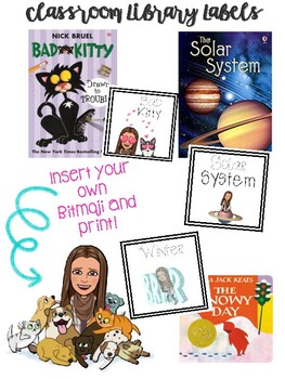 Classroom Library Labels Using Bitmojis