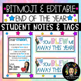 Bitmoji & Editable: End of the Year Notes & Gift Tag