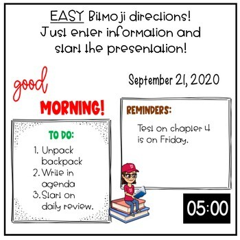 Bitmoji Morning Message with Timer -- Powerpoint