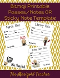 Bitmoji Printable Passes / Notes OR Sticky Note Template